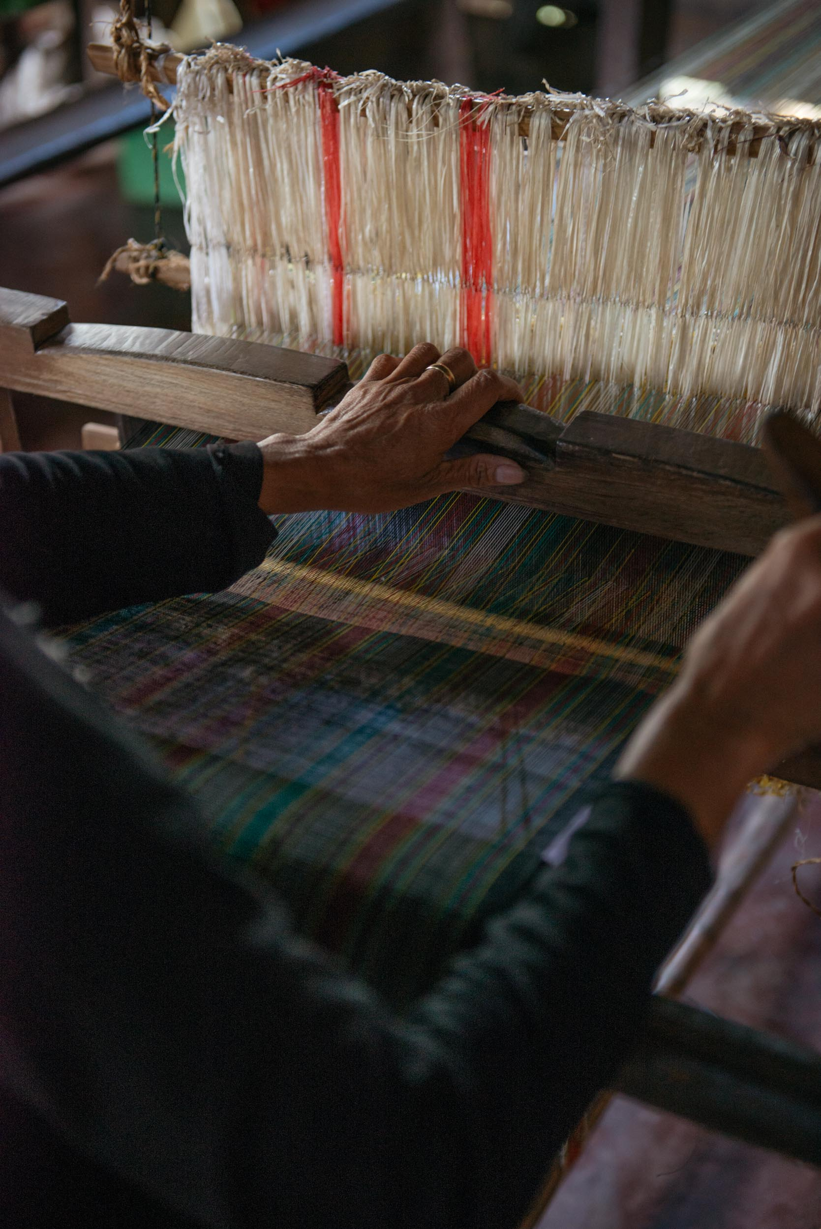 Class A's process doesn't stop in the weaving. It is further polished and waxed. The  paglilimpyo  or cleaning of the finished Hinabol involves cutting excess thread on the surface of the textile, waxing itwith beeswax, and lastly ironing with  bayukong  or a shell for a shiny and smooth finish. Class A Hinabol textiles are sold by the Sunflower Organization to different small and big entrepreneurs around Bukidnon, Cagayan de Oro, Manila, and even international countries.