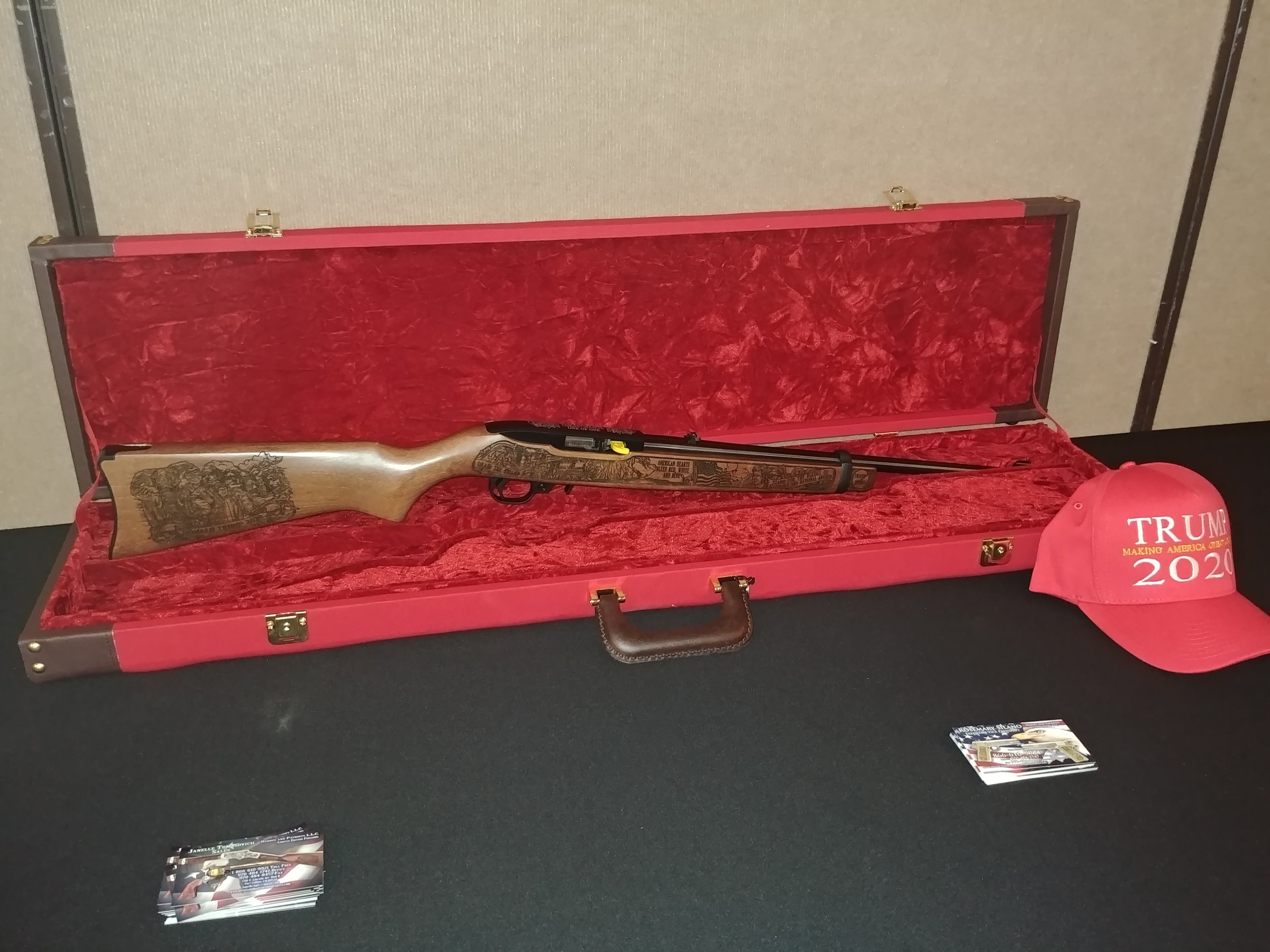 The GOP Trump 2020 Rifle - One of One for Larimer County, CO on display before the live auction.
