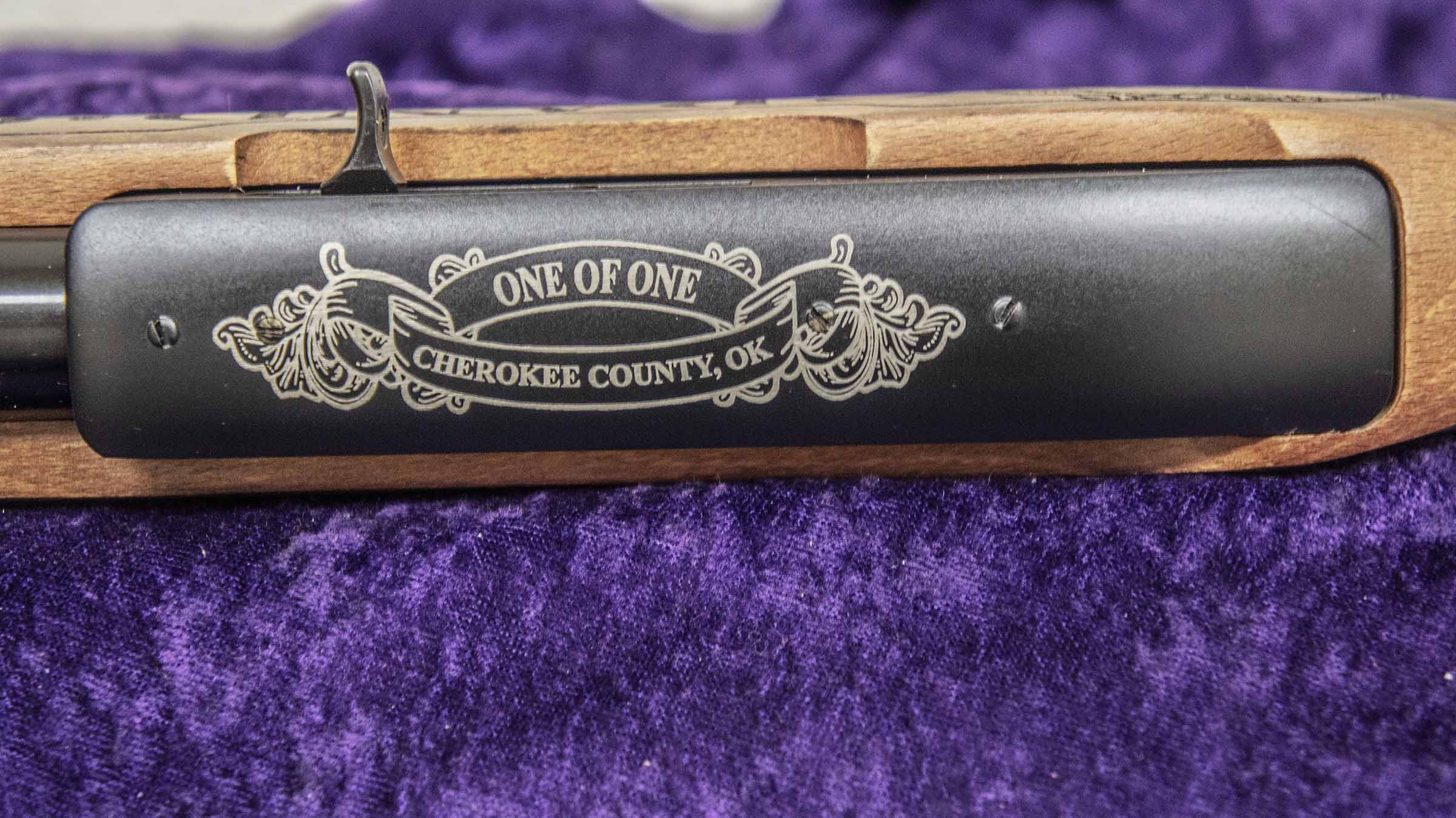 "Edition number ""One of One, County, and State will be engraved on Top of the metal Receiver."