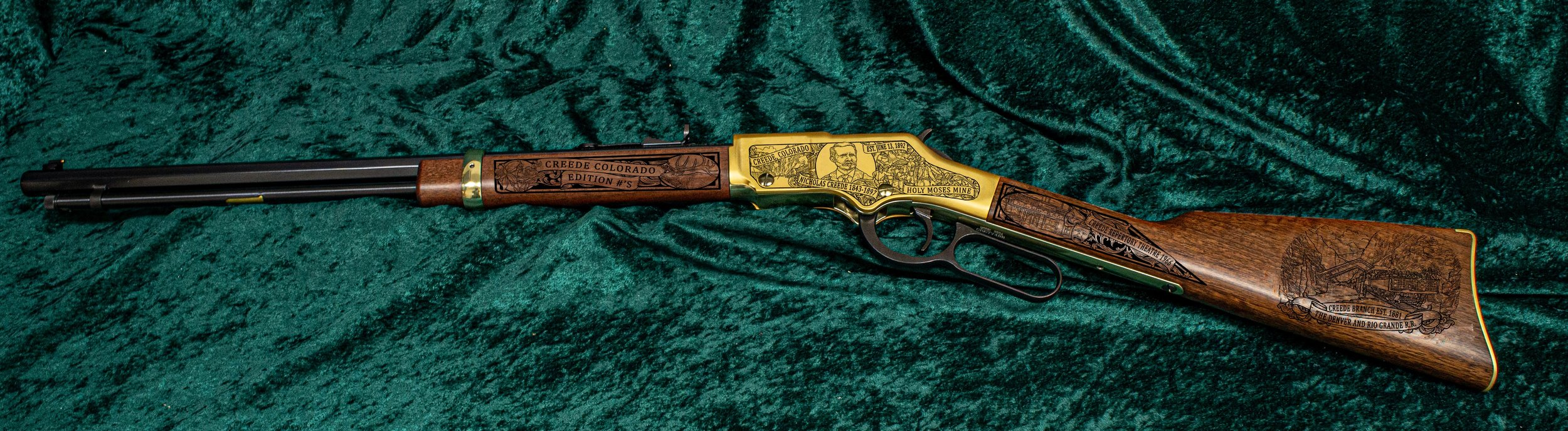 "Each Creede, Colorado Henry Rifle is individually numbered on the left forearm ""# of 10"""
