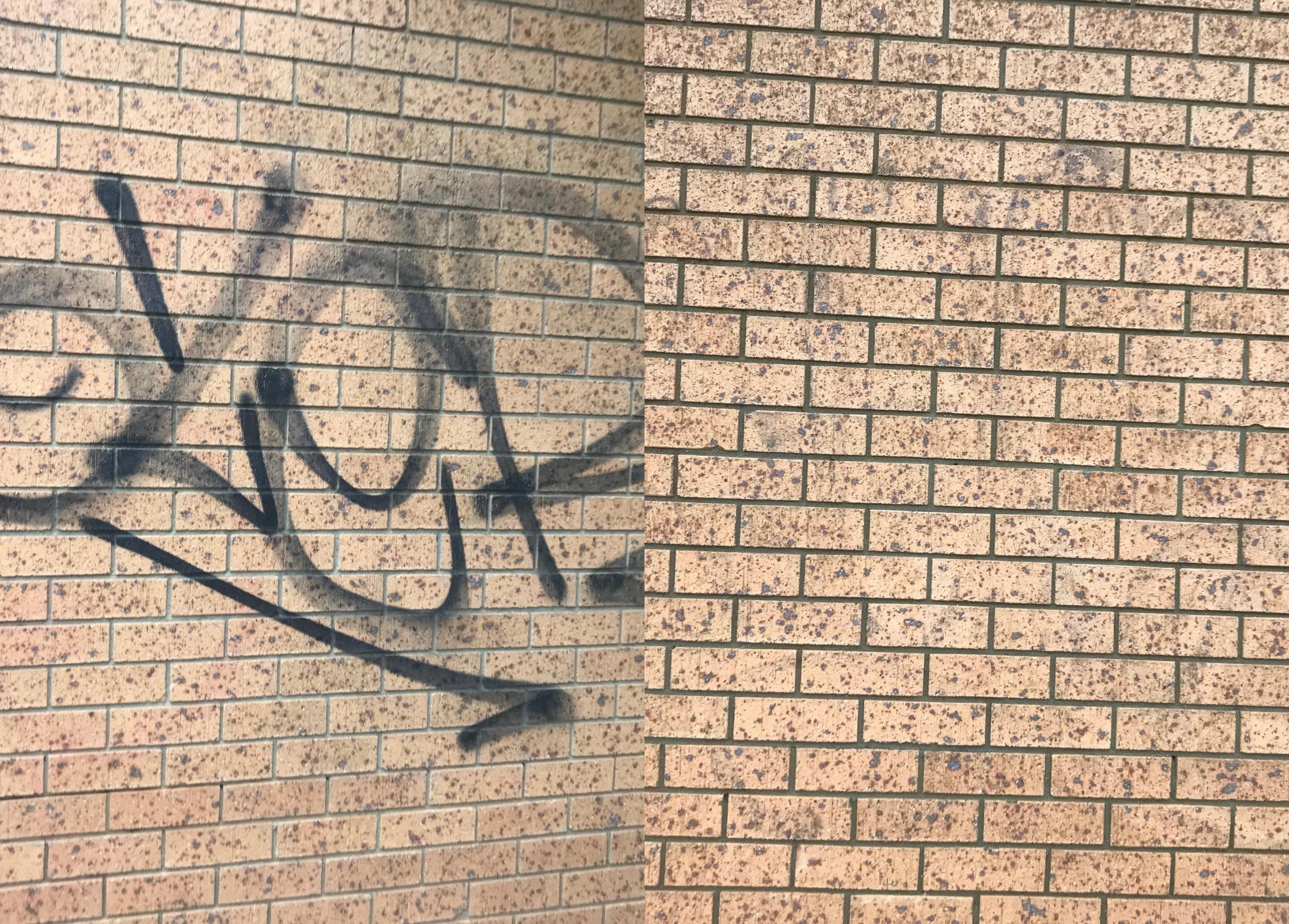 Graffiti removal from exterior wall