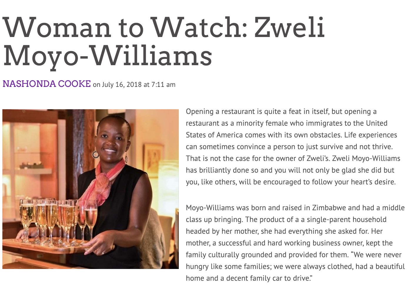 Chef Zwe was selected as the North Carolina Woman to Watch for the month of August 2018! Click picture for article.