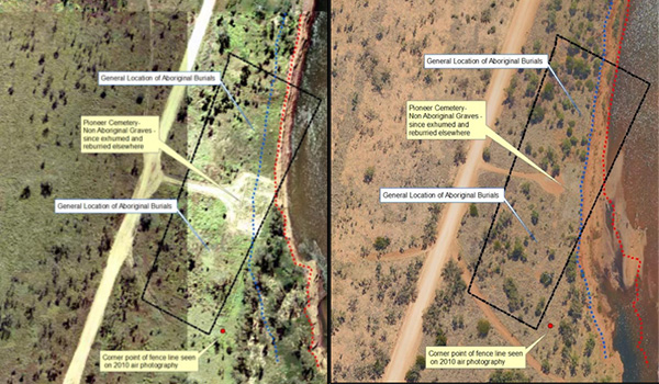 Fitzroy Crossing burial sites 2001 & 2016 – the receding river bank - DPLH