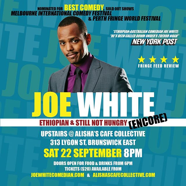 "Tickets still available for @joewhite_official Comedy Show! Be prepared for an ab-workout... this show will leave you in stitches. Click on ""Get Tickets"" to book now! Upstairs at @alishascafecollective 
