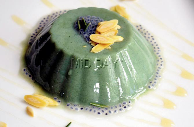 Almond milk and spirulina panna cotta. Pic/Ashish Raje