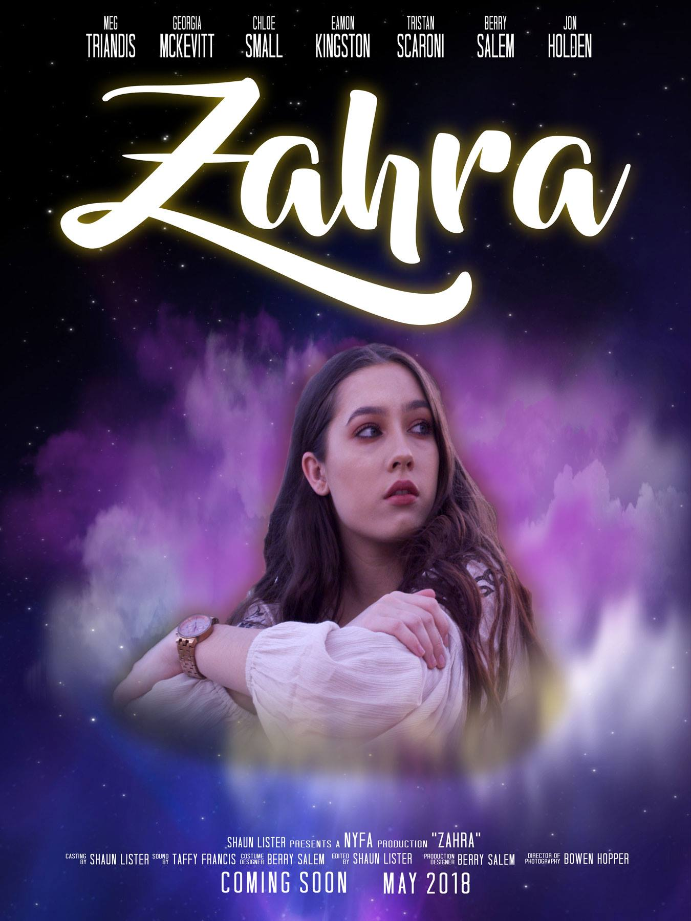 Zahra - (Film)A Muslim girl moving to a new country to start her adult life as a free independent woman, struggling to fit in she has to decide where she belongs.Written & Directed by Shaun ListerCinematography and Camera operation by Bowen Hopper