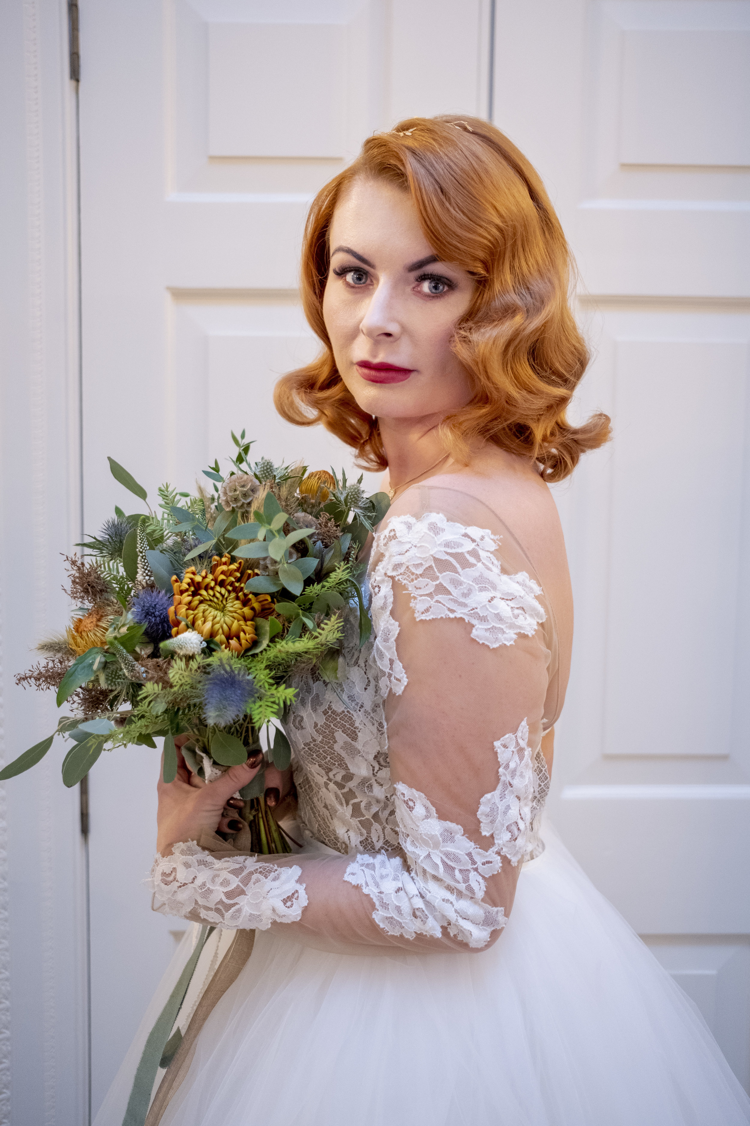 Wedding bride with flower bouquet