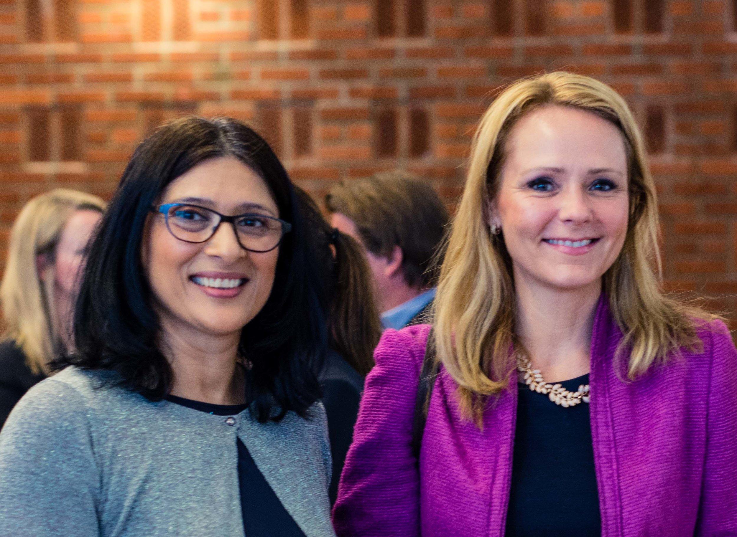 Barne- og Likestillingsminister Linda Hofstad Helleland og grunnlegger Loveleen Brenna på Mangfoldsledelse 2018.