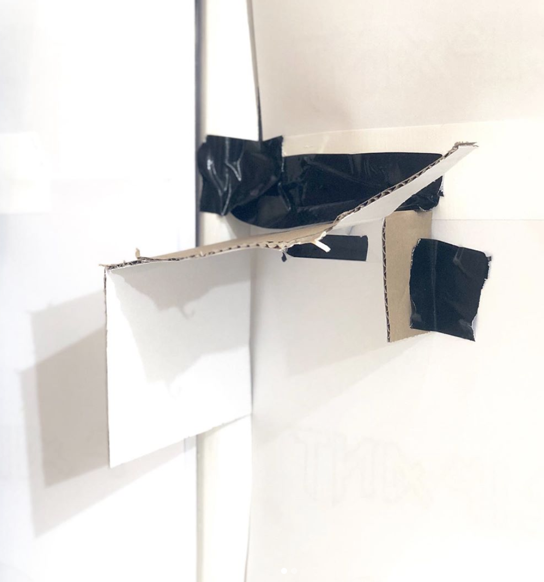 Richie Culver - Latest Work - *Look out zone* Cardboard, masking tape and acrylic  Dimensions variable  2019
