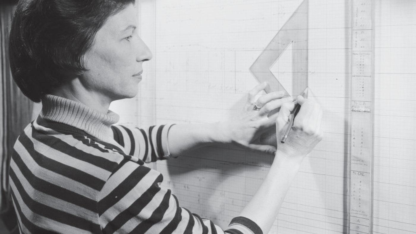 Woman at drawing board