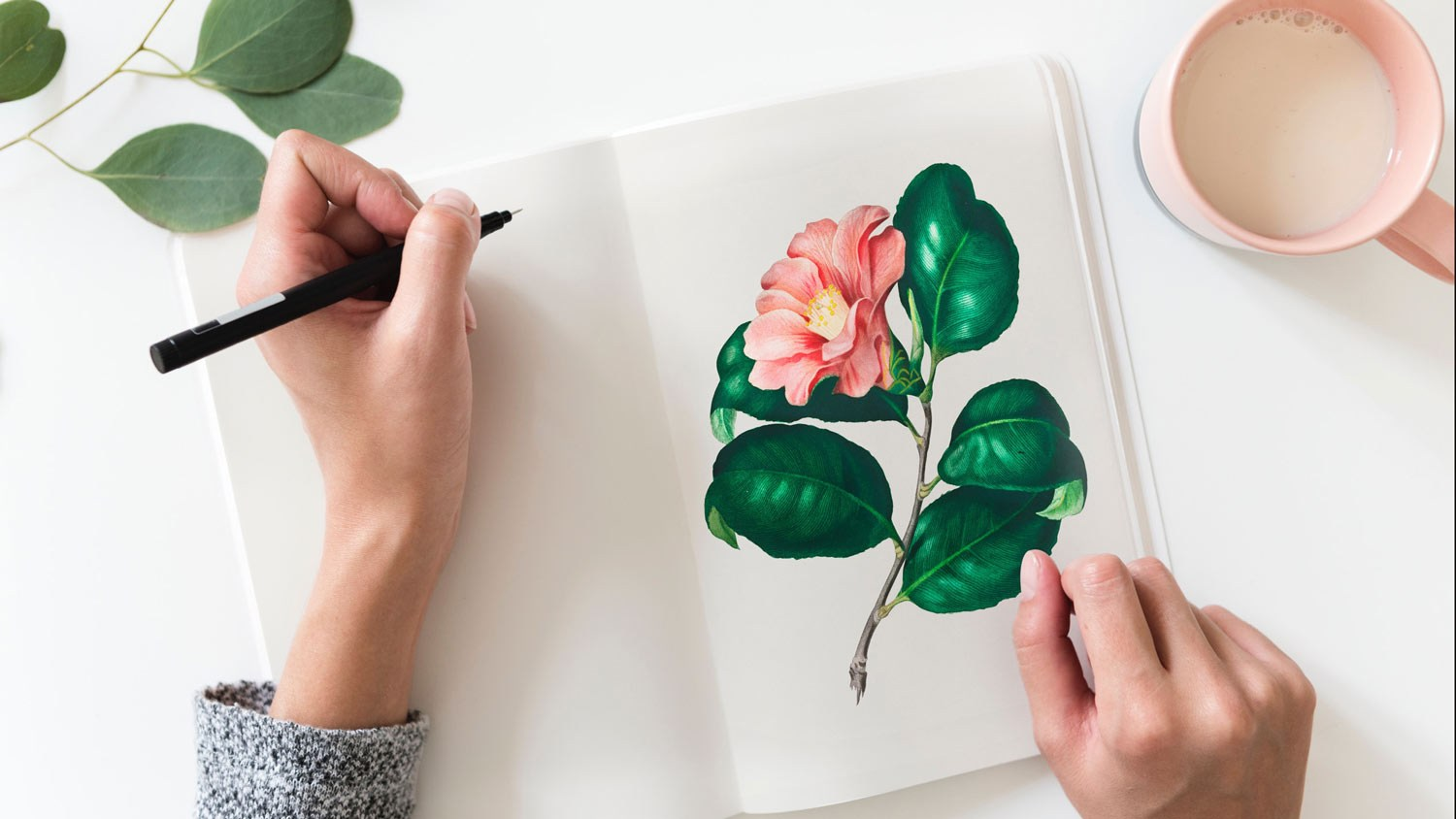 Hand with pen poised at flowered notebook