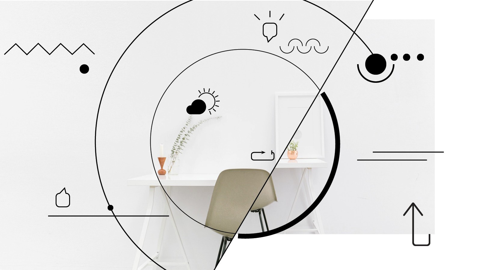 Icon illustrations set over image of desk and chair