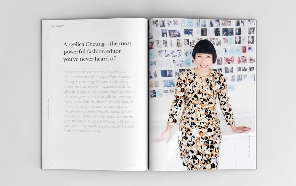 Magazine spread featuring Angelica Cheung