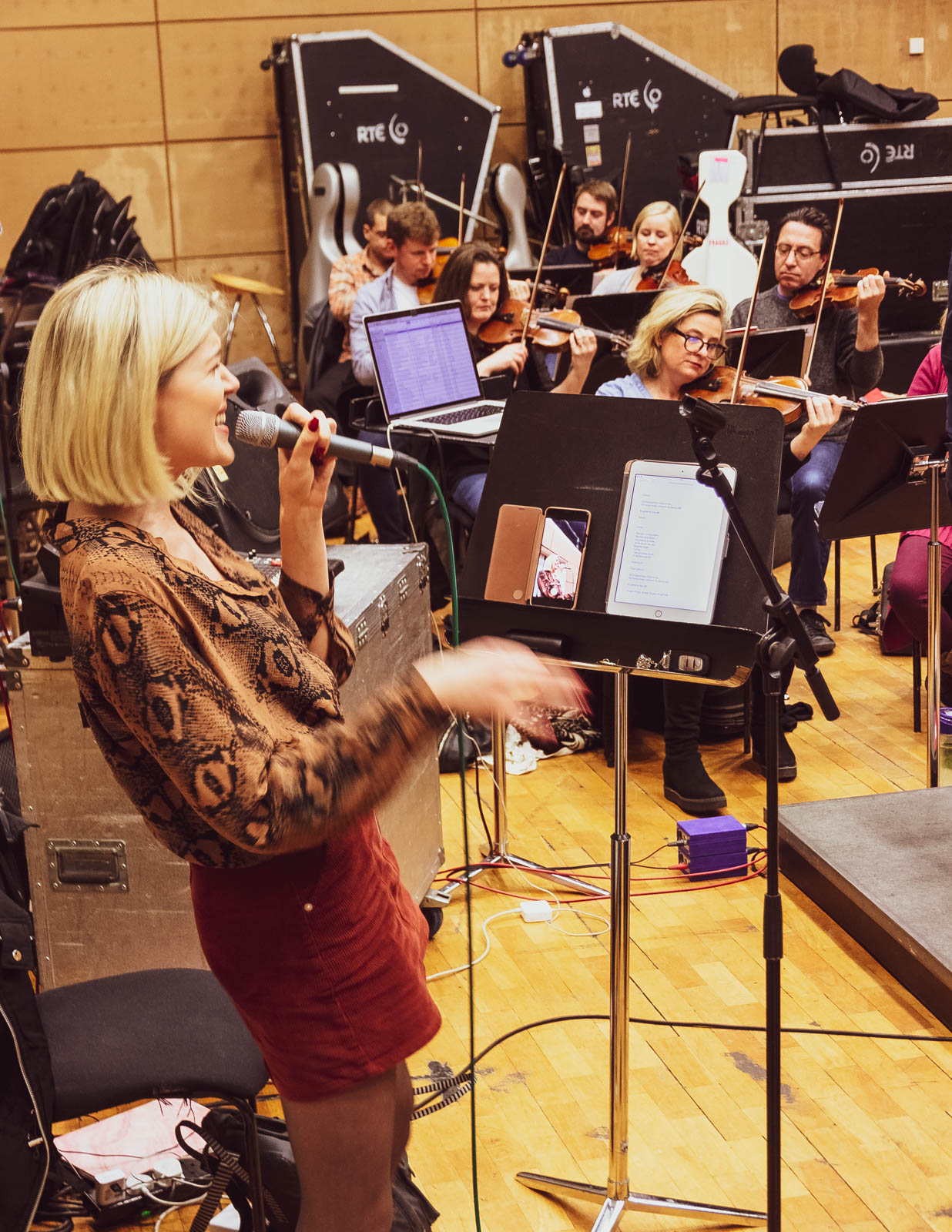Vocalist Gemma Sugrue at rehearsals with the RTÉ Concert Orchestra
