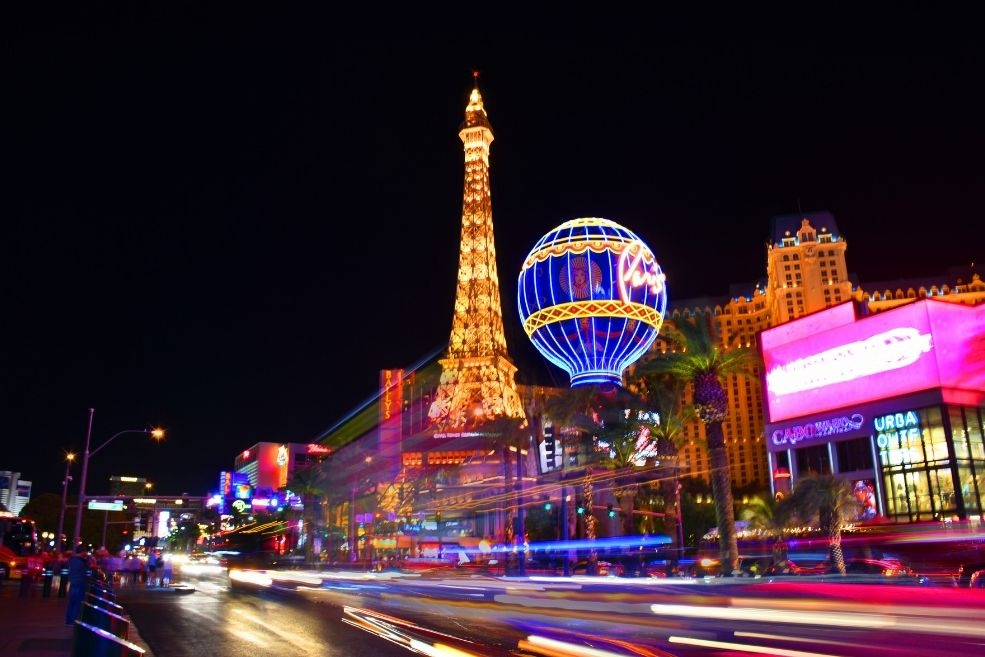 The glittering Las Vegas Strip at night. Image: Emily Cathcart.