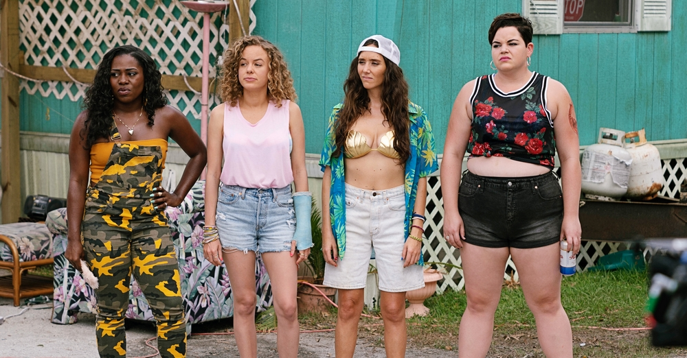 (L-R) Laci Mosely as 'Jayla,' Laura Chinn as 'Shelby,' Patty Guggenheim as 'Erica,' and Melanie Field as 'Kaitlin' in Pop TV's Florida Girls.