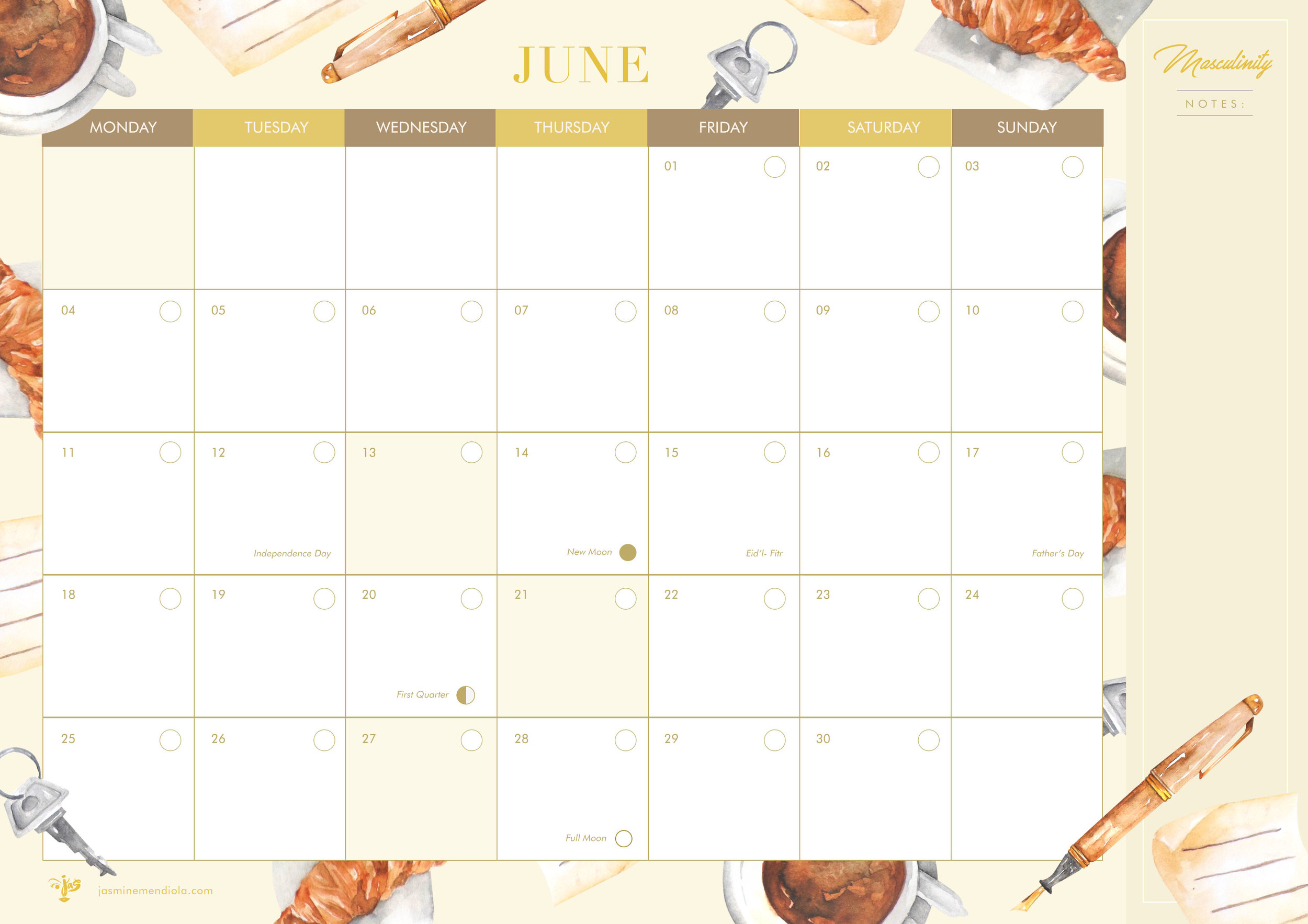 The June calendar features masculine elements drawn and painted by talented Sab Palmares who does most of my artworks. This is in honor of Father's Day. All my calendars feature the new and full moon along with the Christian and Philippine Holidays and a note-taking area on the right. Click the image below to put this in your cart for the rest of the month's reminders :)