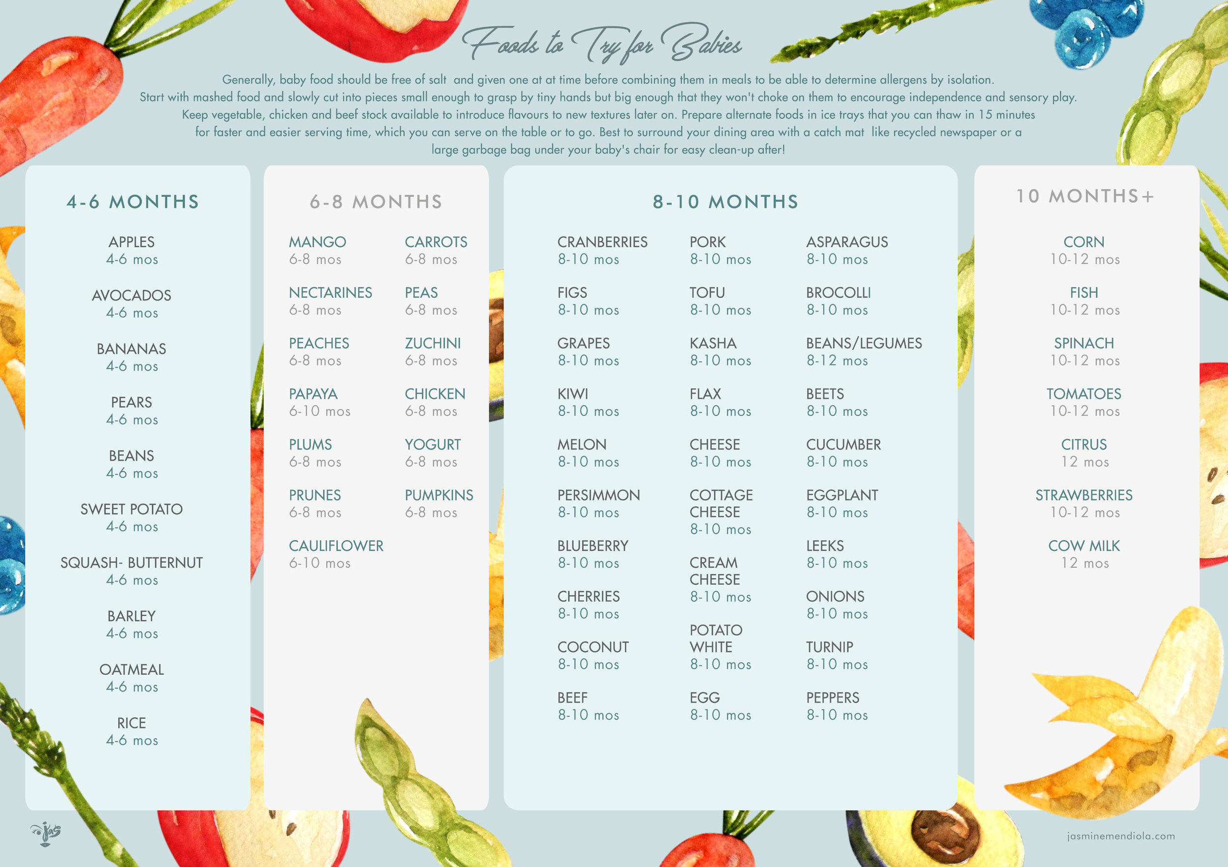 Baby Food Checklist  (I used this list to make sure I have a good variety of meals for both Roux and Paco and that I've made them try as much types of food within what's adiseable for their age as they slowly got introduced to solid food. They're happy eaters so far!)