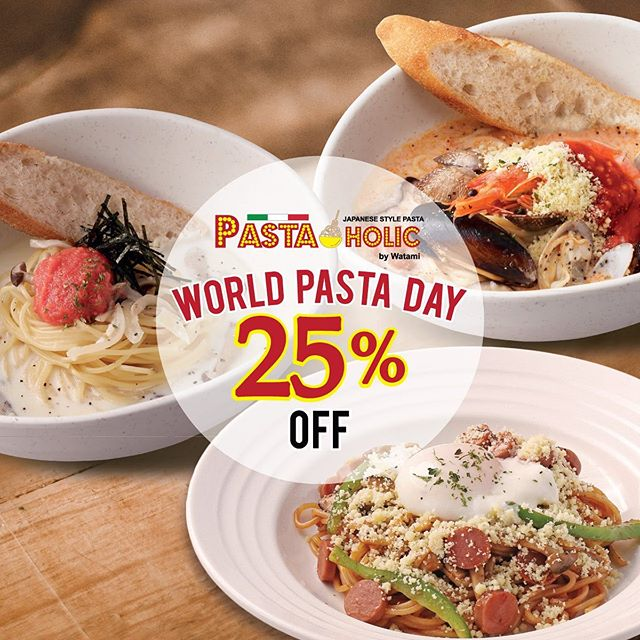 Mark your calendar!⁣⁣⁣ ⁣⁣⁣ Because on 25th October, there will be a whopping 25% off ALL PASTA🍝!⁣⁣⁣ ⁣⁣⁣ Tag your friends, bring your pals! Let's celebrate 🌍World Pasta Day🍝 together and share our love for pasta!⁣⁣⁣ ⁣⁣⁣ We are located at Don Don Donki Food Court (Basement 1) @ Clarke Quay Central from 11 am to 10.30 pm.⁣⁣⁣ ⁣⁣⁣ *Not valid with ongoing promotions or discounts⁣⁣⁣ **Available while stocks last⁣⁣⁣ ⁣⁣⁣ #PASTAHOLICSG