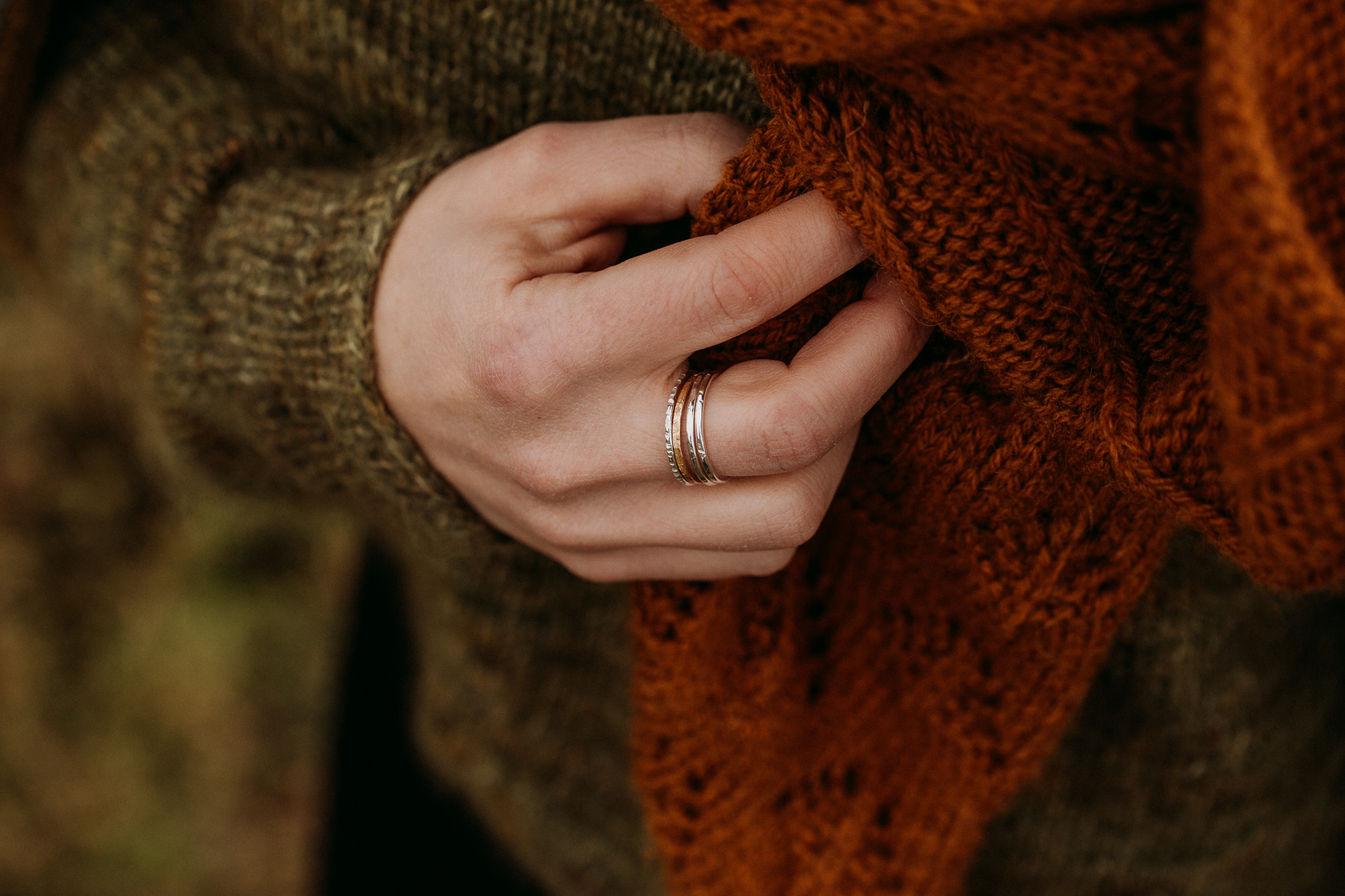 The Barkskin stacking ring set - from the bottom up; oak, gold, beech and rowan.