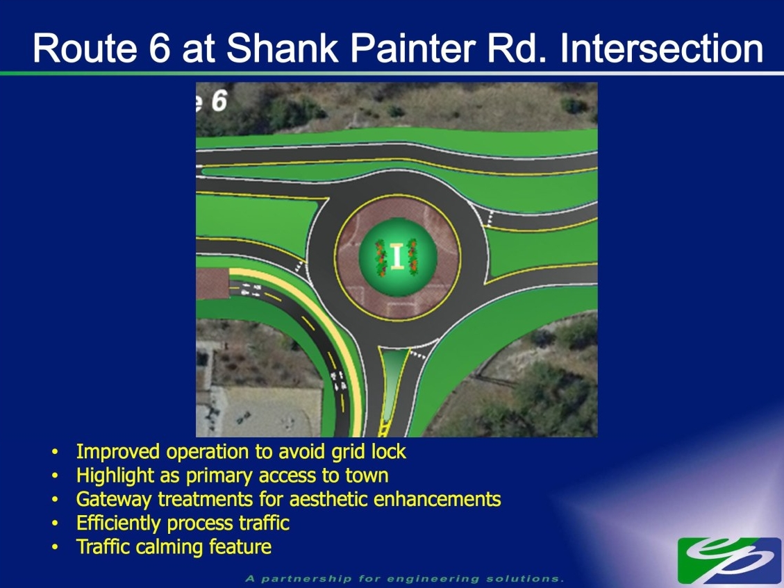 Where are the crosswalks?  Concept for a roundabout at Route 6 and Shank Painter Rd. in Provincetown (Courtesy Provincetown Department of Public Works)