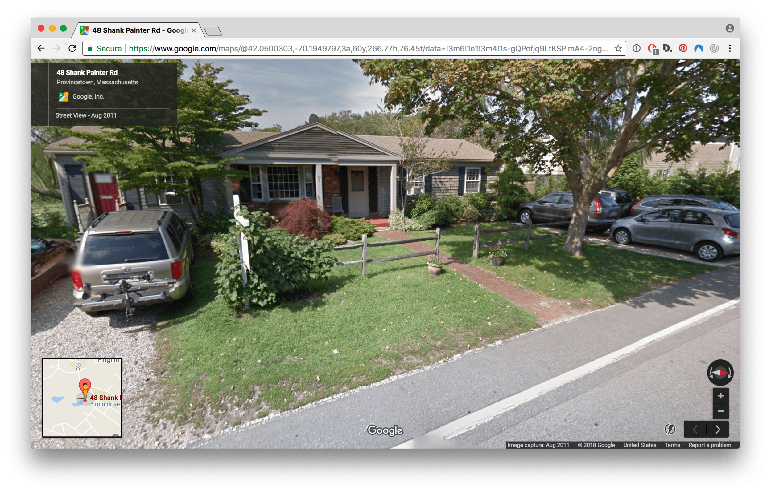 48 Shank Painter Road, Provincetown. Google Streetview image (2011)