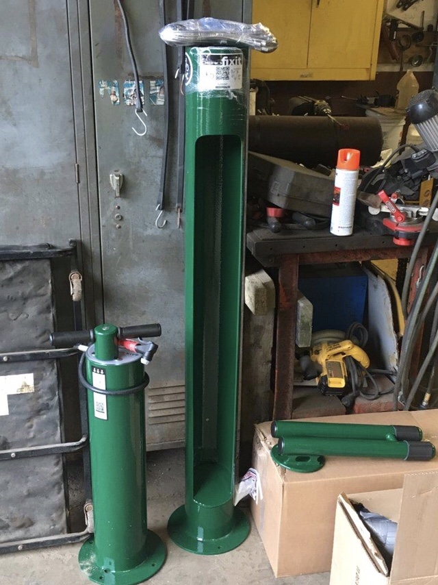 An air pump and repair station awaiting installation at the Public Works yard