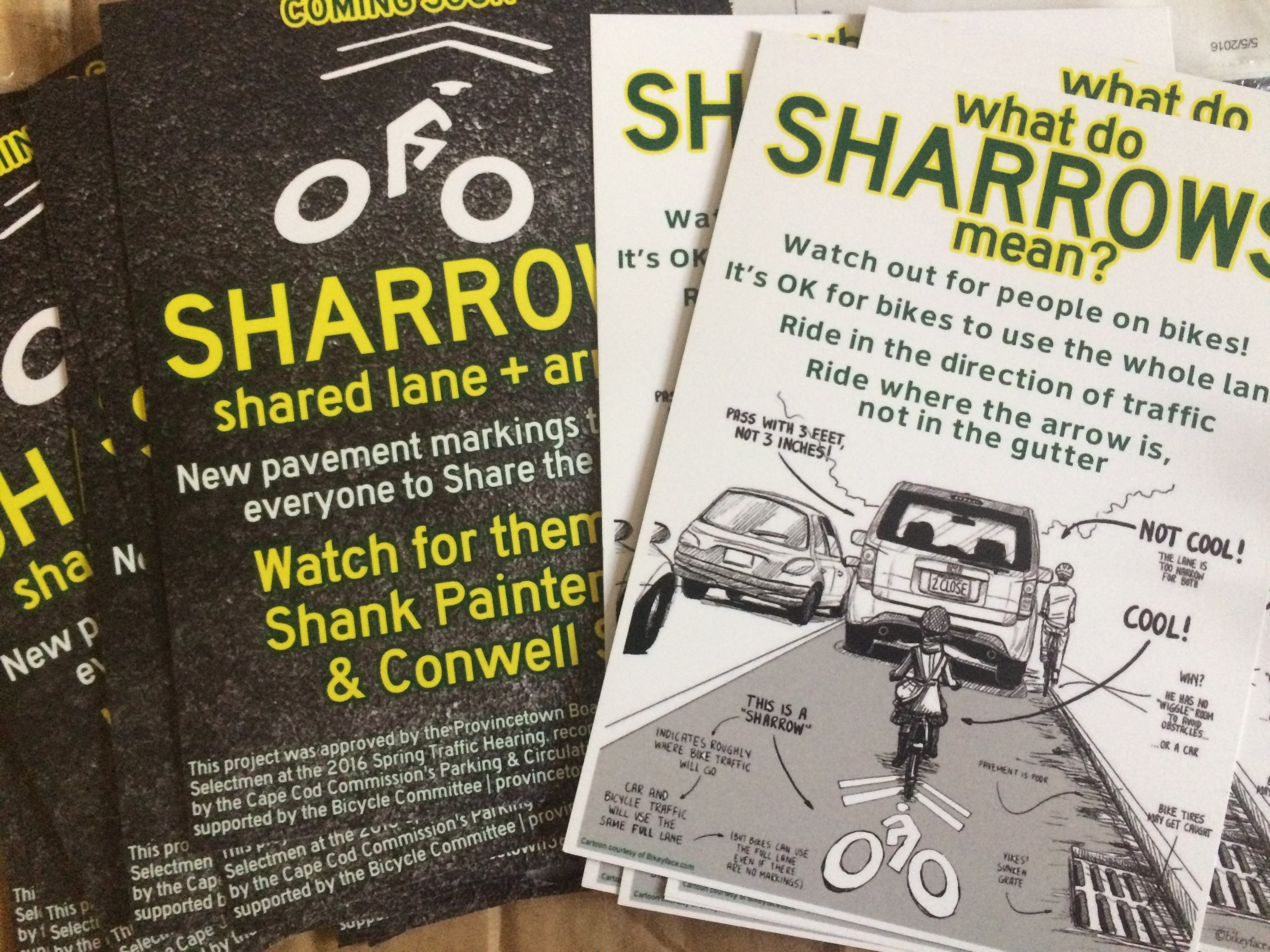 """The """"what do sharrows mean?"""" educational postcard from Provincetown 365"""