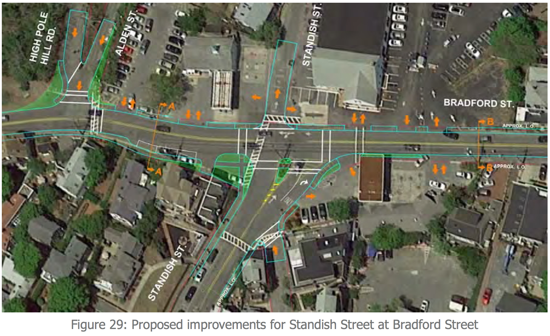 Engineering concept for improvements at the Bradford Street & Standish Street intersection.