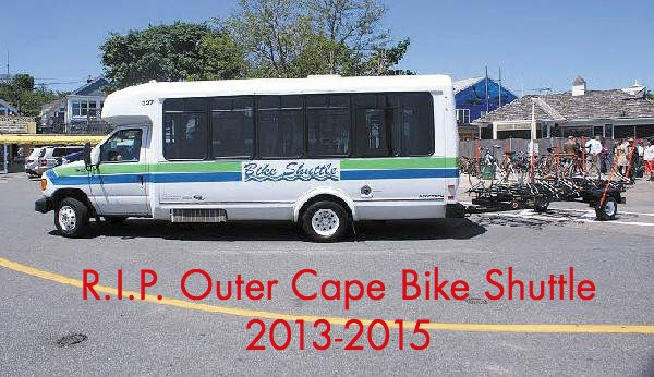 The dedicated bike shuttle is gone, but regular bus service can still carry two bikes on the front rack of the bus.
