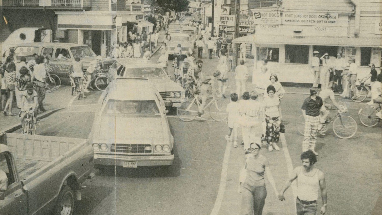 This photo from 1976 shows that Commercial Street has long been chaotic in the summer.  (Courtesy of the Provincetown History Project)