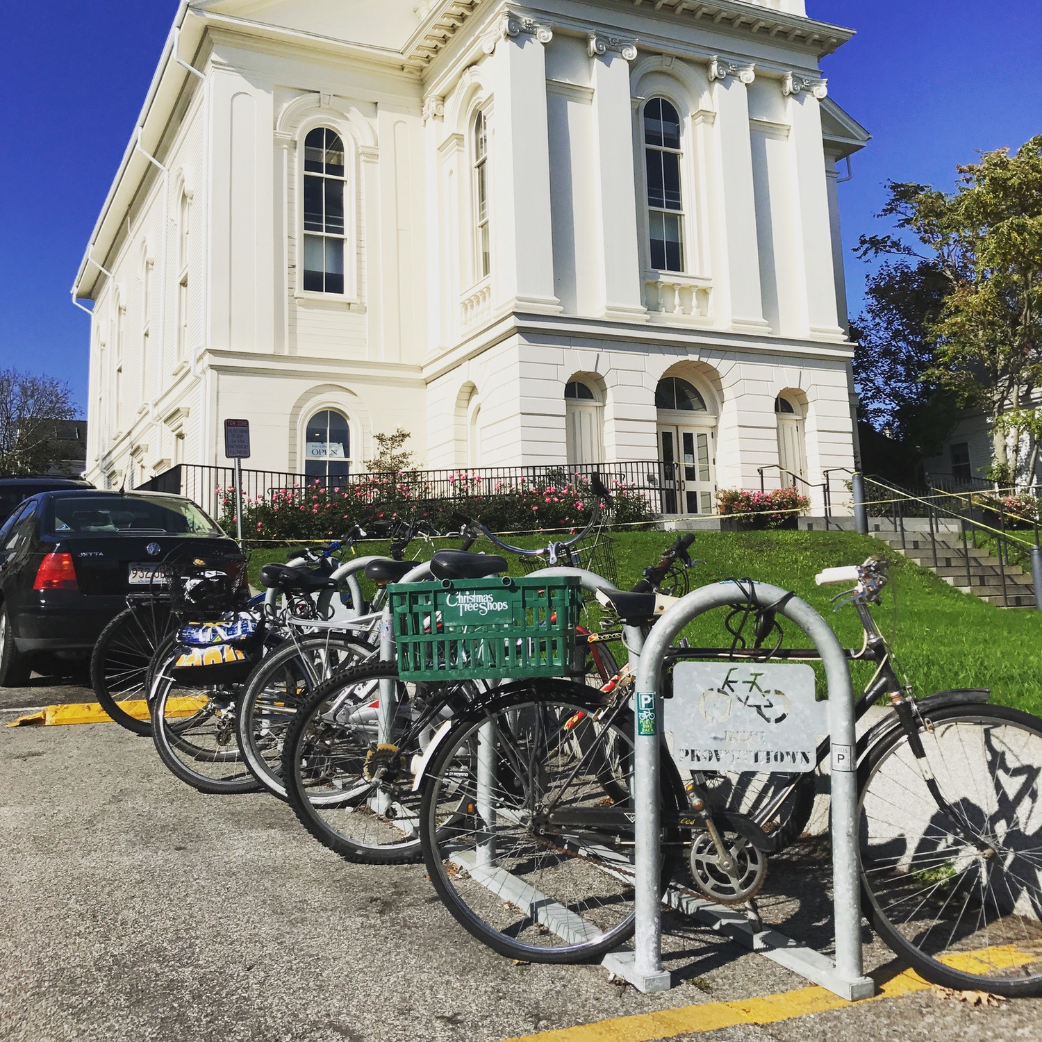 The Provincetown Public Library's seasonal on-street bike rack.