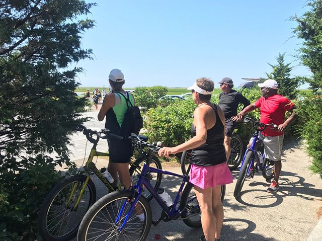 Tour guests at Pilgrims' First Landing Park, where the Mayflower Pilgrims first landed in 1620.