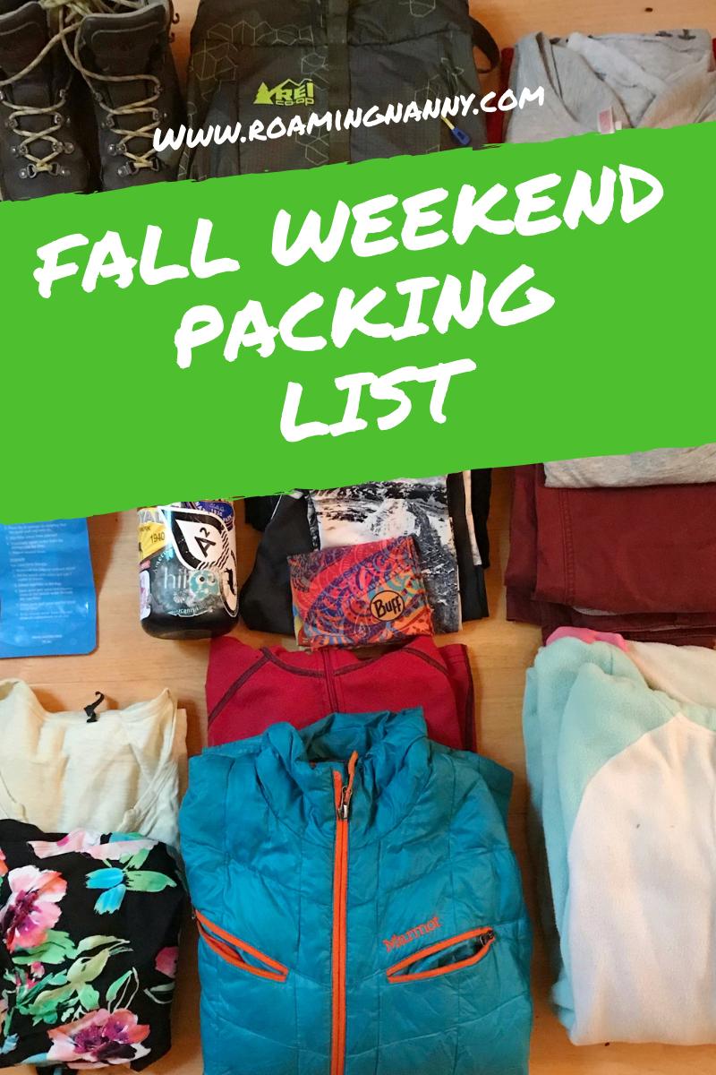 Fall Weekend Packing List