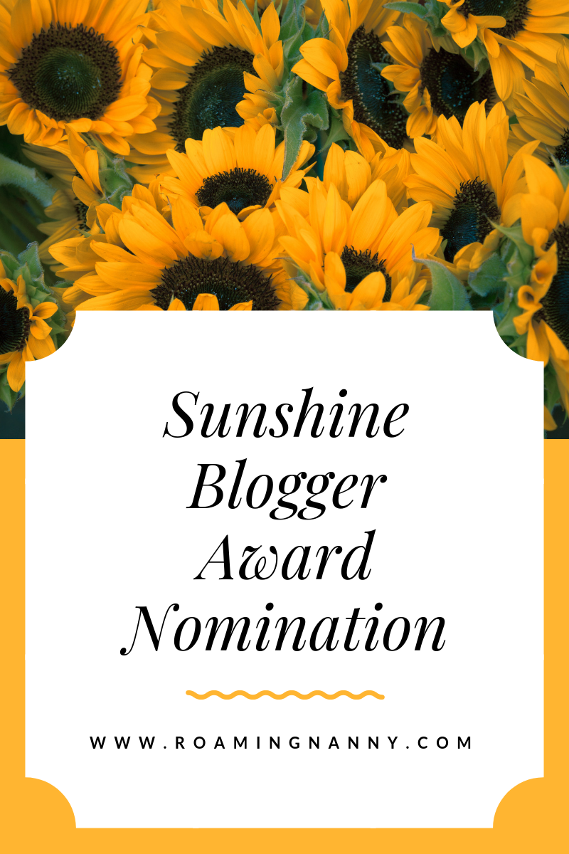 I've been Nominated for the Sunshine Blogger Award!