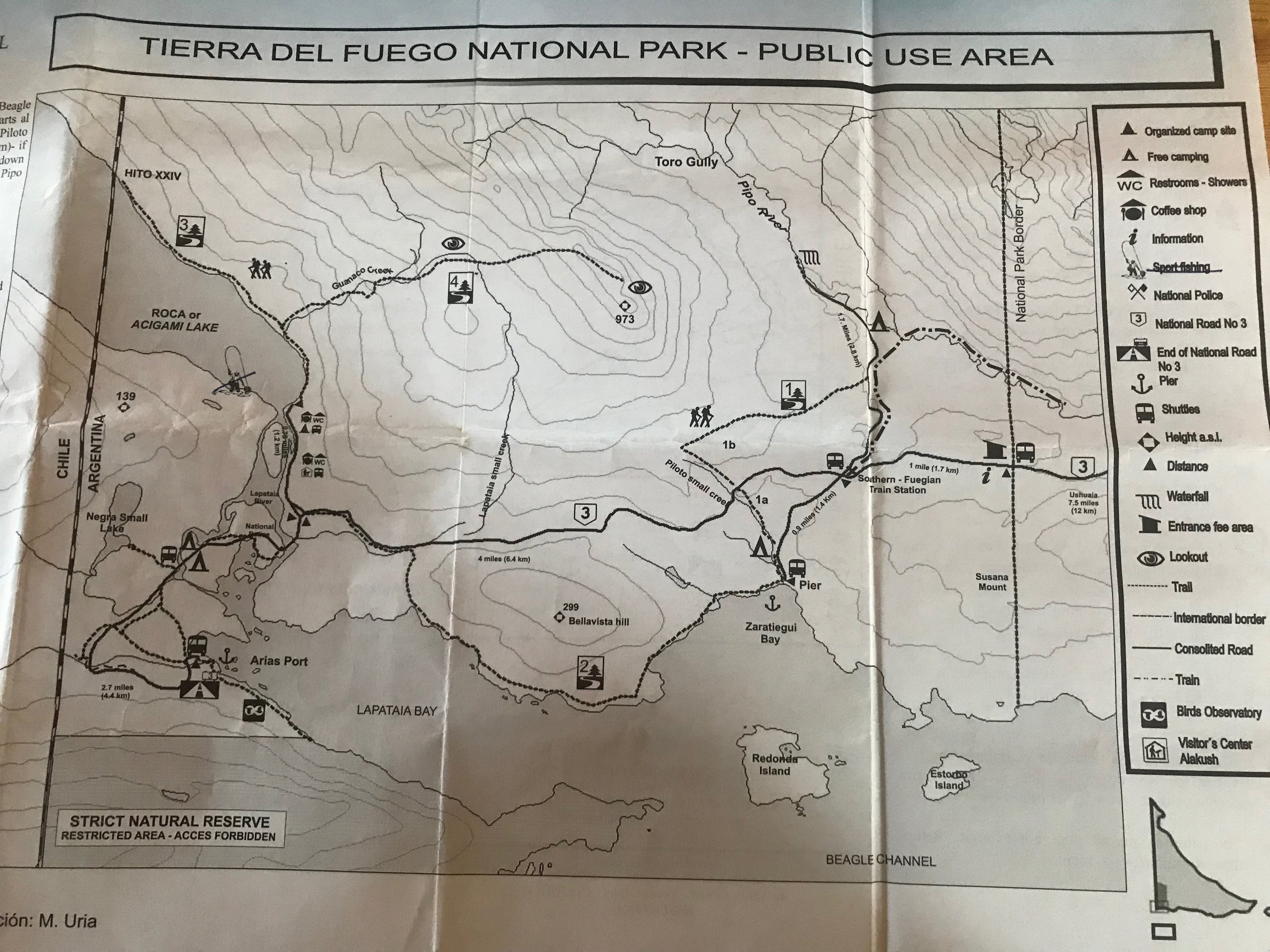 Ushuaia Argentina Tierra del Fuego National Park Map