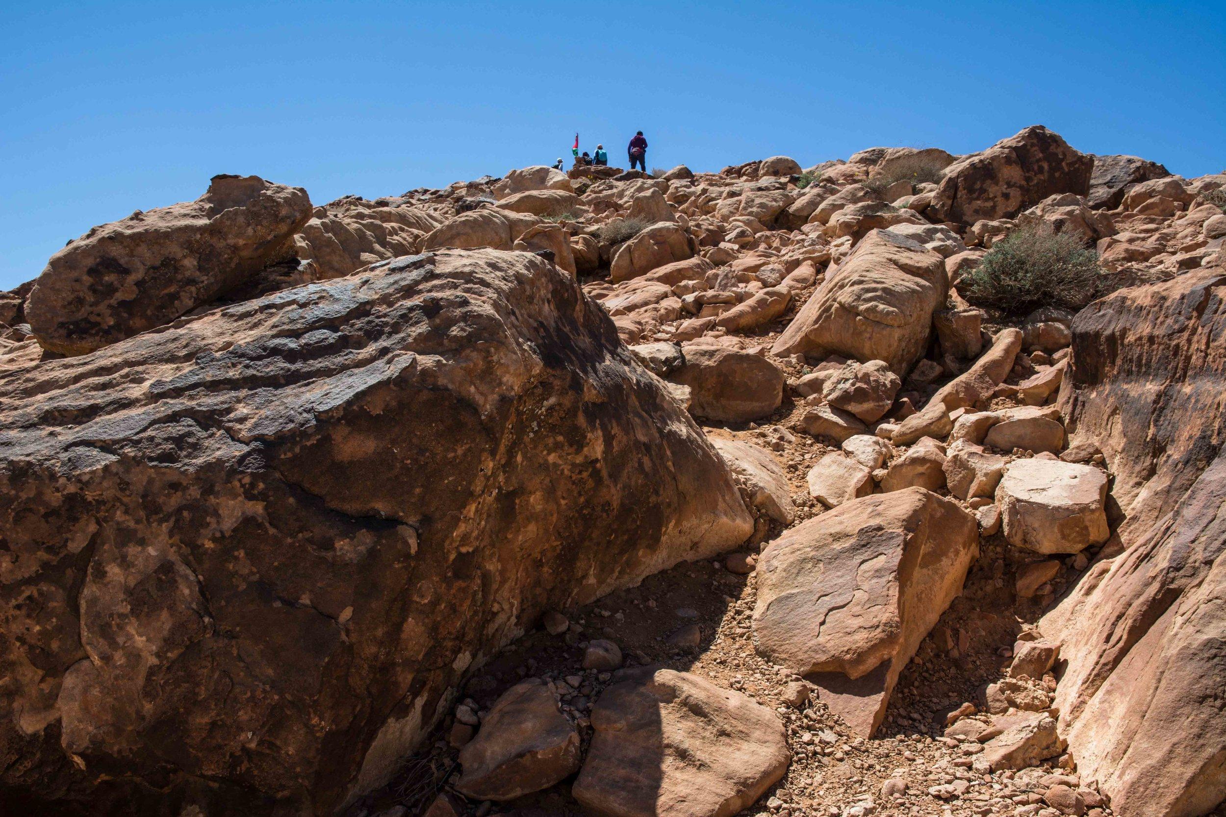 Hike in the desert of Wadi Rum in Jordan Jabal al dami