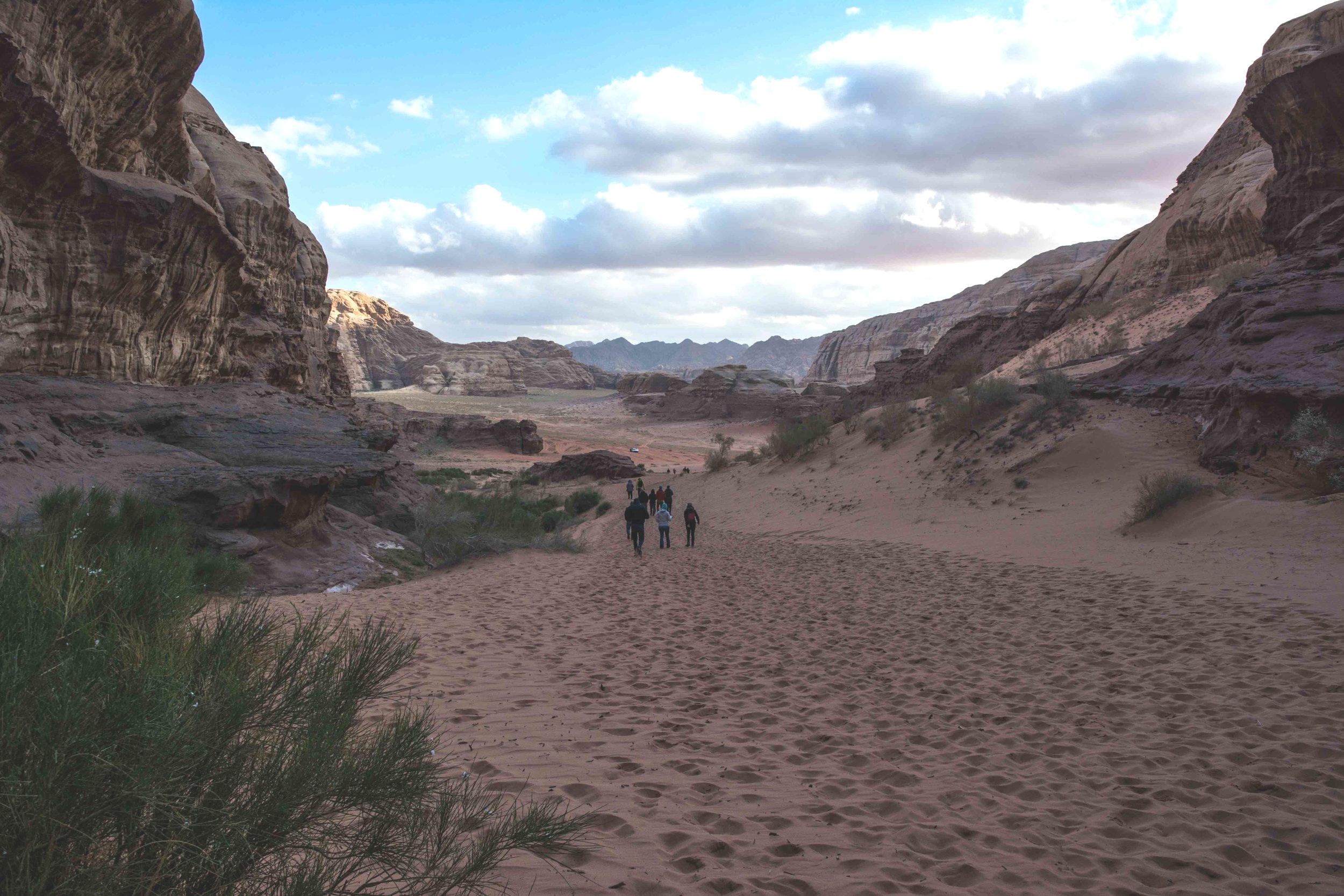 Hiking in Canyons in Wadi Rum Jordan