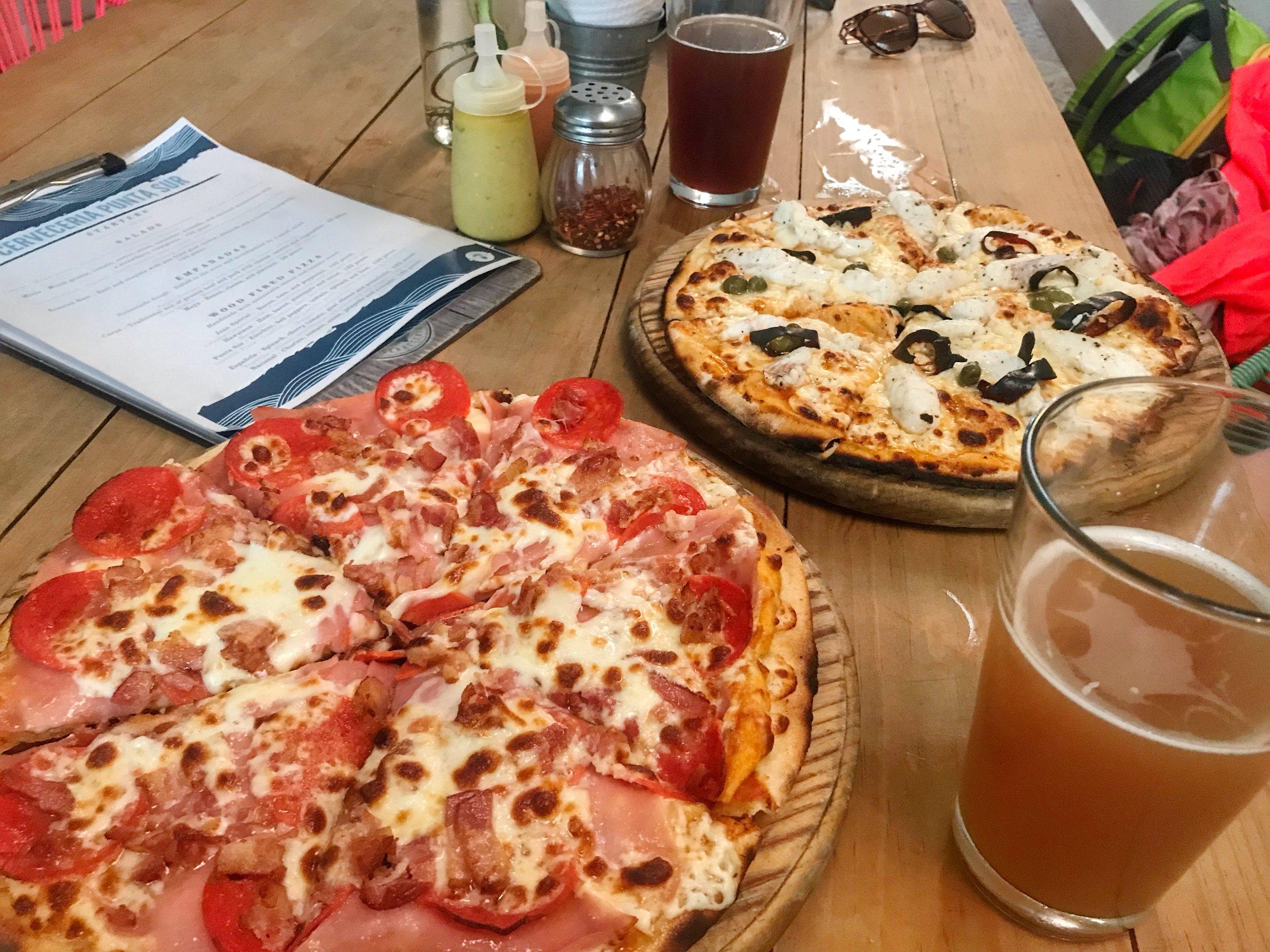 Pizza at Cerveceria Punta Sur