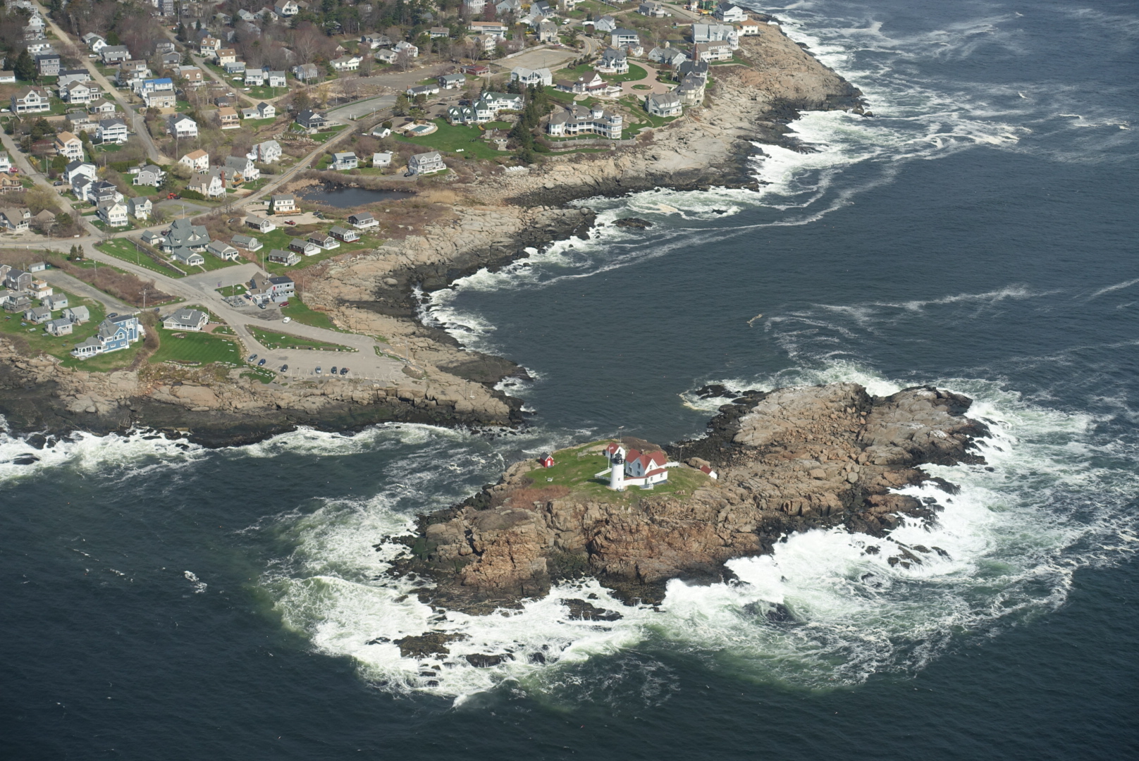 Southern coast of Maine - Nubble light from a plane