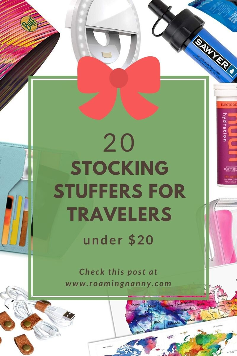 Here is the perfect stocking stuffers for under $20 for the traveler in your life. #travel #stockingstuffers #holidayseason #gifts #solofemaletravel #holidaygifts