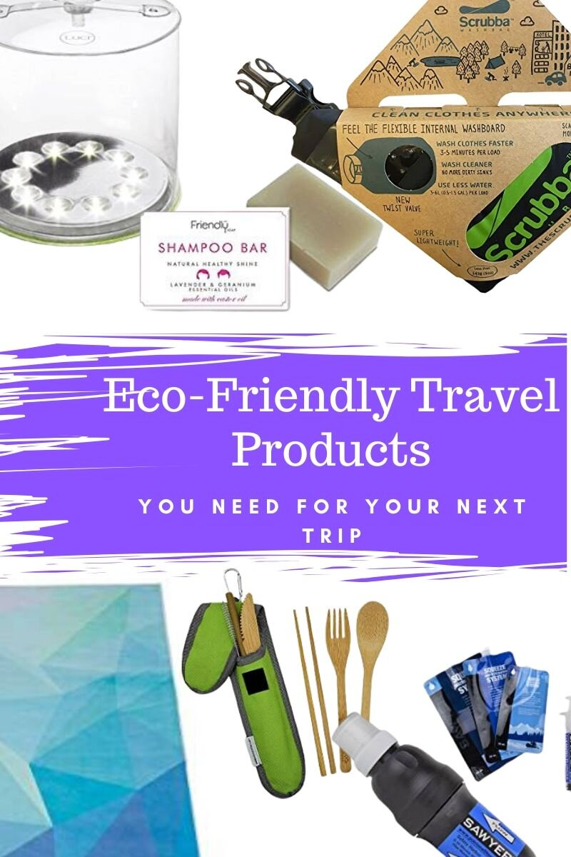 Within the last few years, since I've been traveling more, I've been trying to travel more sustainably. One of the pathways to sustainable travel is to replace disposable products and find others that are made from recycled materials. Here are some of my favorite eco-friendly travel products. #ecofriendly #sustainabletravel #environmentallyfriendlyproducts #ecofriendlytravelproducts