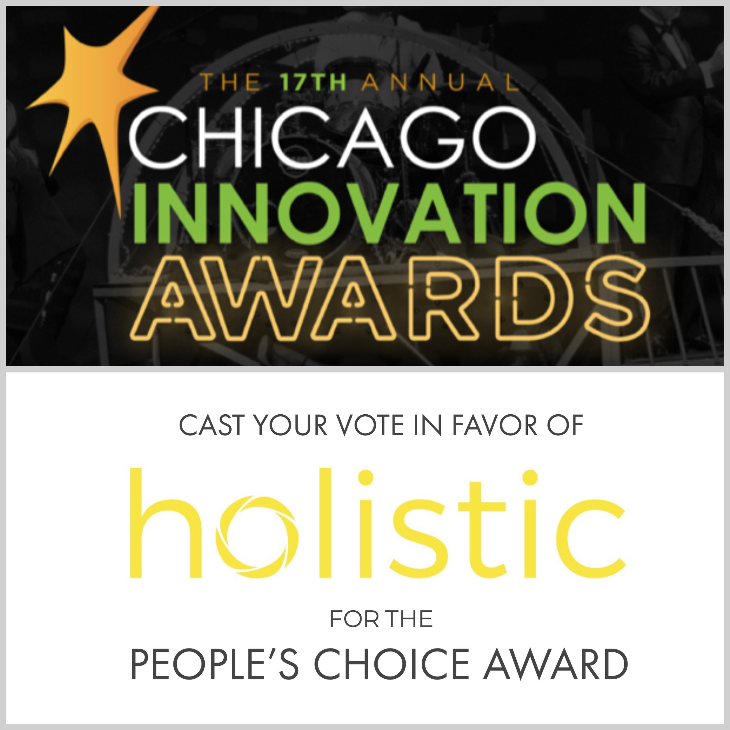 Holistic is one of the Top 100 Finalists for the Chicago Innovation Awards.  Vote  for us for the People's Choice Award before October 5th! (Hint: We're on page 7)