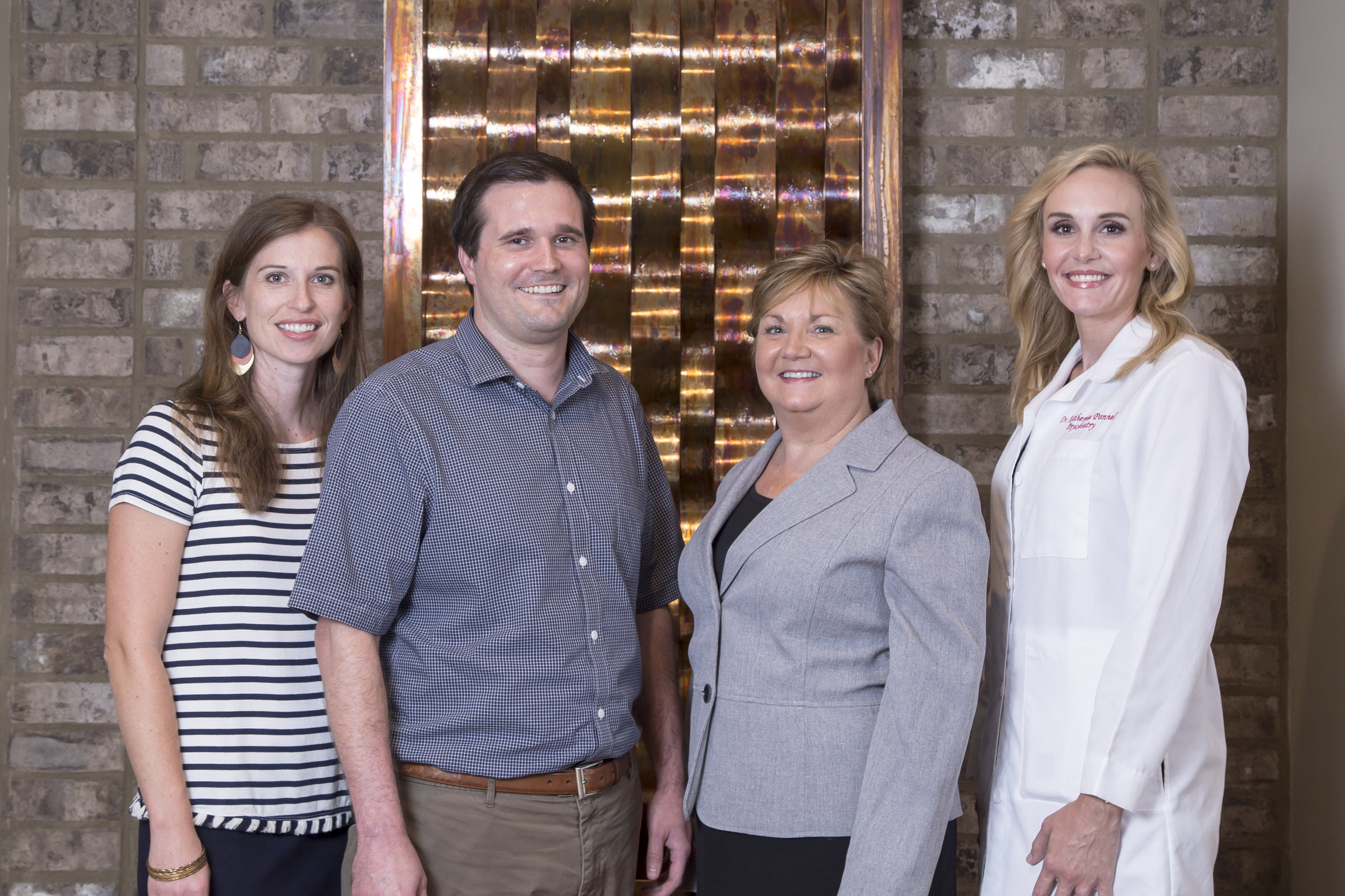 The staff of Right Track Medical Group includes Emily Grace Ames, LPC; Clark Hunt, LPC; Cindy Seal, Practice Administrator; and Dr. Katherine Pannel, DO, Psychiatrist and Medical Director.