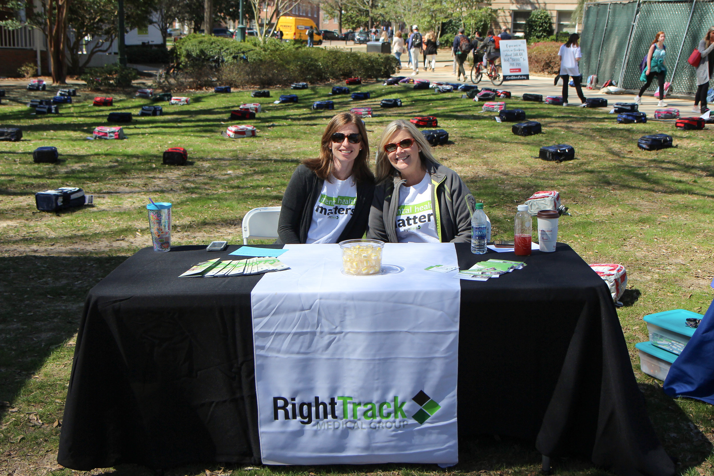 Right Track Medical Group's Therapist Emily Grace Ames, LPC, and Director of Outreach Carol Ann Hughes spent the day in the Grove offering support to students.