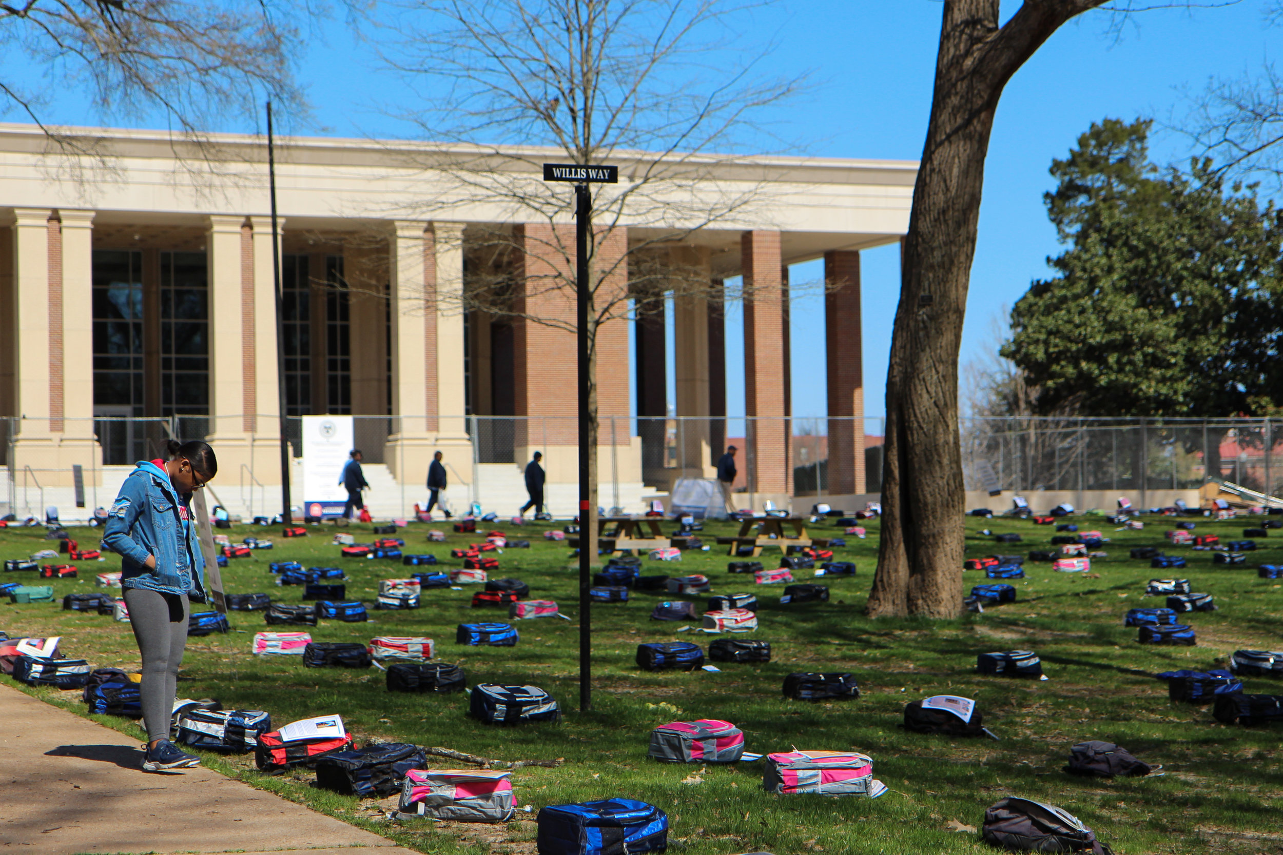 The Grove at the University of Mississippi was blanketed with more than 1,000 backpacks on March 19, each representing a college student who lost their life to suicide.
