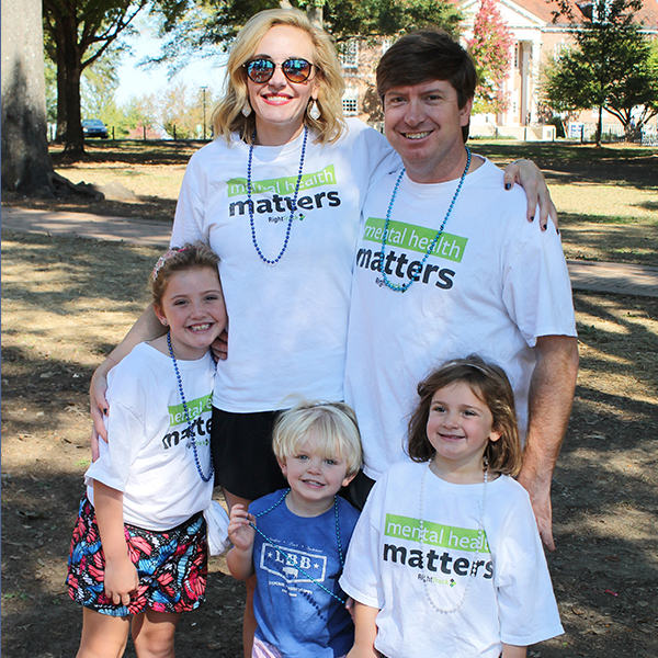 Dr. Stephen Pannel  and  Dr. Katherine Pannel  with their three children at the Oxford Out of the Darkness Community Walk in support of  The American Foundation for Suicide Prevention .