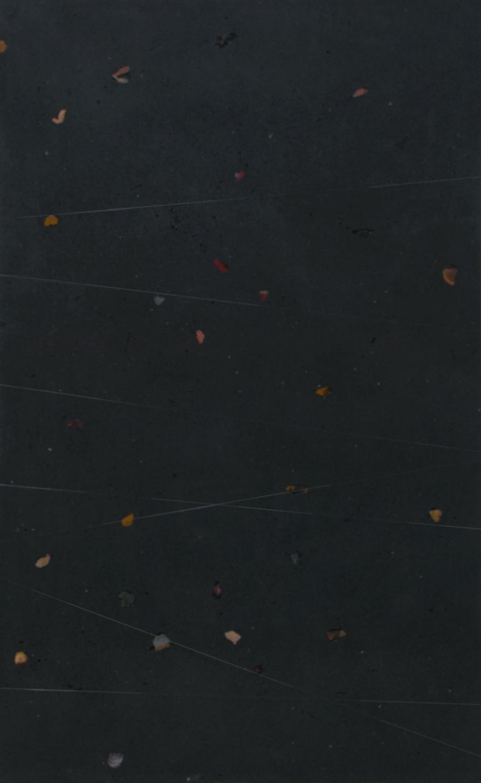 "concrete, stones, crystals, monofilament; 56.625"" x 35"""
