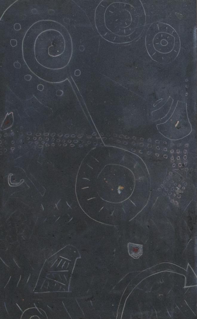 "concrete, stones, crystals, chalk; 56.625"" x 35"""