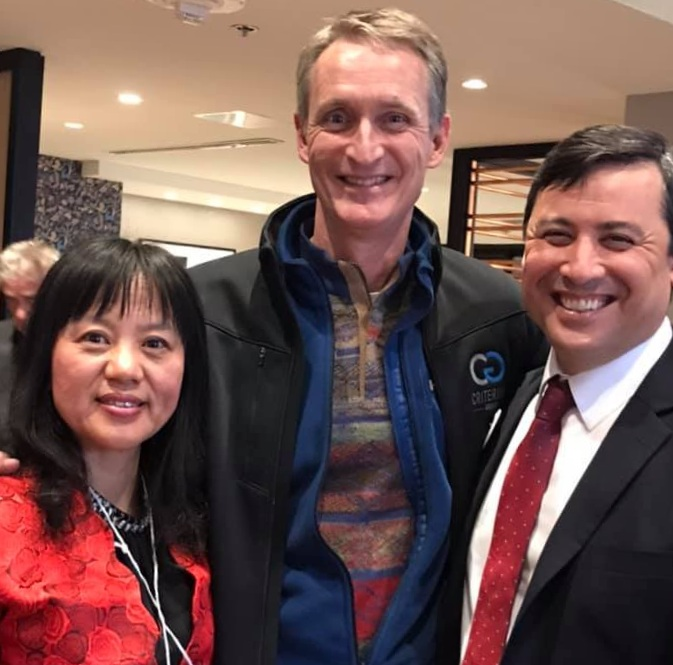 After doorknocking I was introduced by May Han to Michael Chong, MP (Wellington-Halton Hills). Michael is in Calgary attending the Action! Chinese Canadians Together Leaders' Summit.